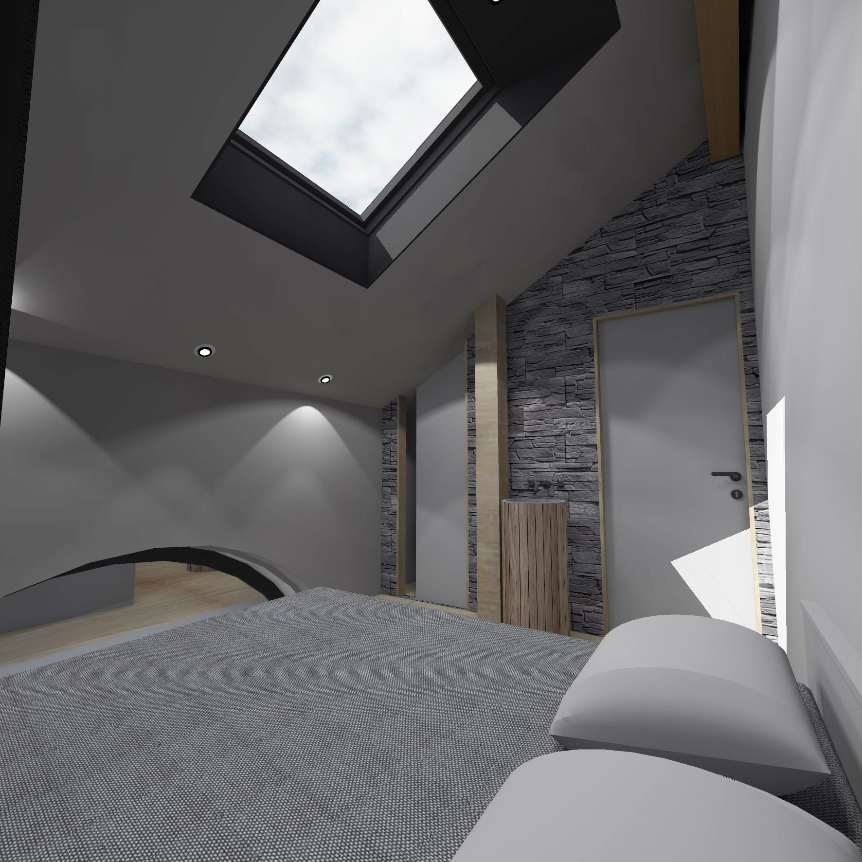 Een voorbeeld van een van de kamers (MaineMa Architecten)